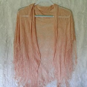 Lacey tassel poncho-shawl